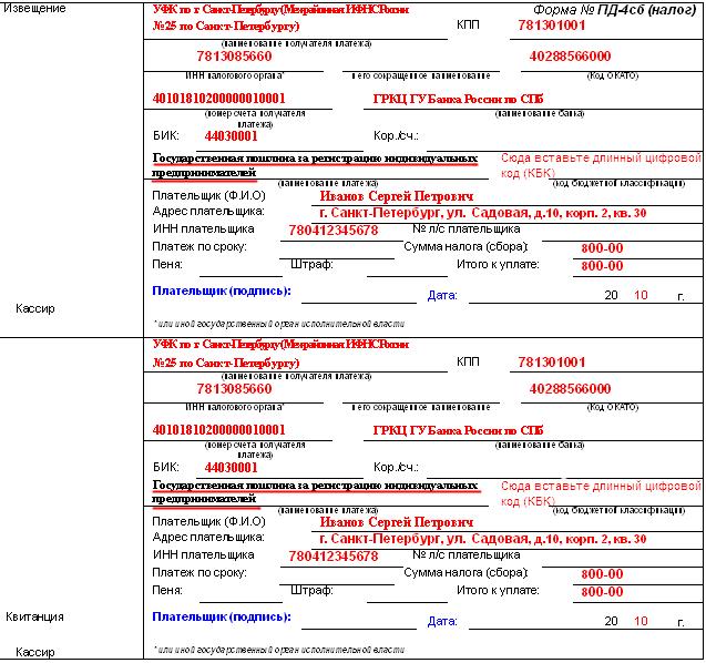 квитанция госпошлина закрытие ип петербург