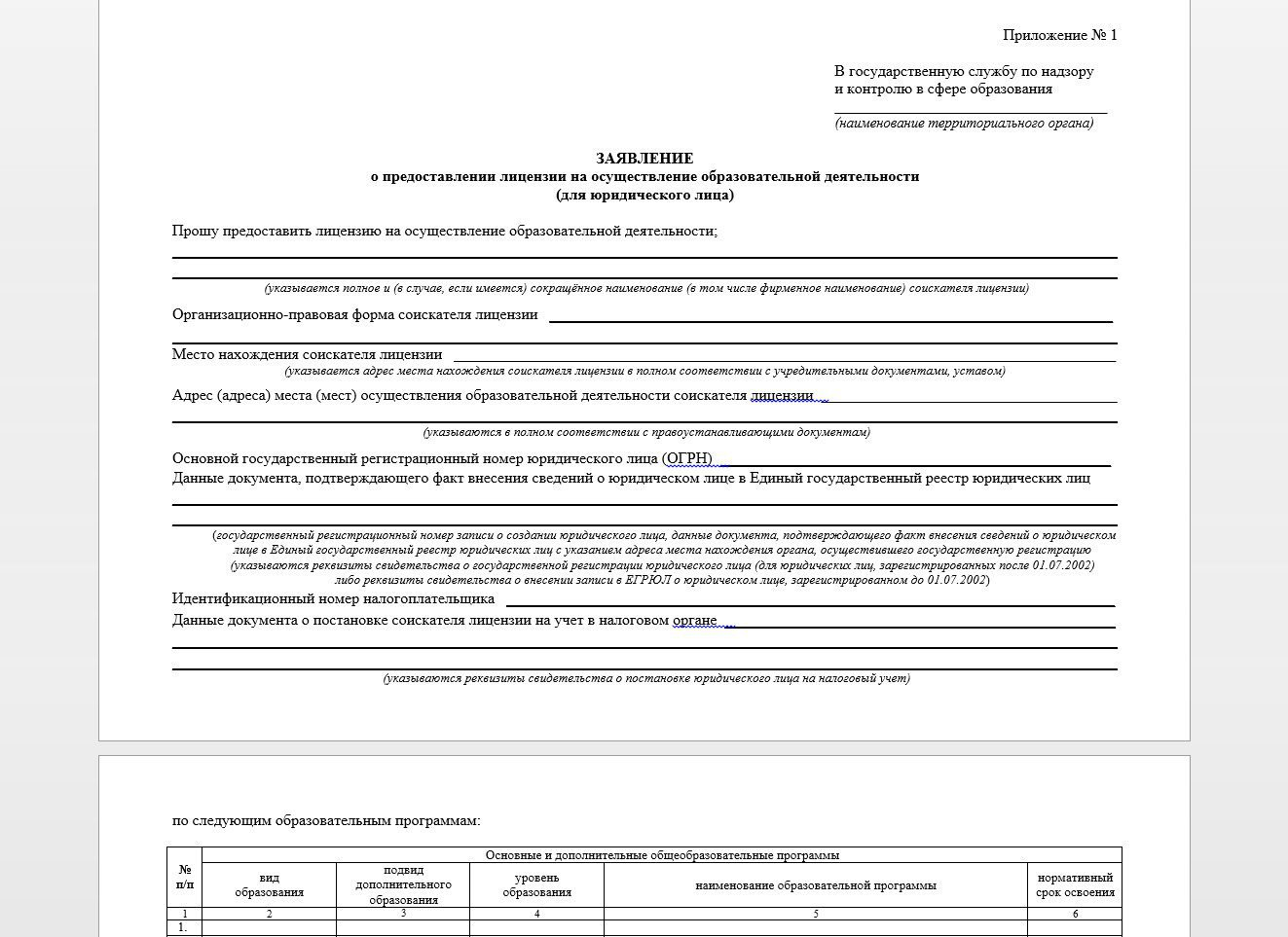 Бланк заявления о предоставлении лицензии на осуществление образовательной деятельности
